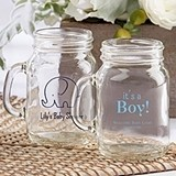 Personalized 4.5 oz. Miniature Mason Jar Glasses (Baby Shower Designs)