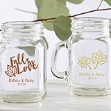 Personalized 4.5 oz. Miniature Mason Jar Glasses with Fall Designs