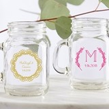 Personalized 4.5 oz. 'Rustic Charm' Miniature Mason Jar Glasses
