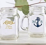 Personalized 4.5 oz. Nautical Wedding Miniature Mason Jar Glasses
