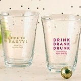 "Personalized 'Boozie Birthday' 16 oz. Glass Party ""Cups"""