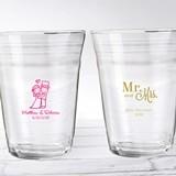 """Personalized 16 oz. Glass Party """"Cups"""" (Wedding & Seasonal)"""