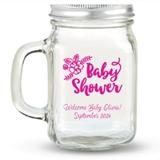 Kate Aspen Baby Shower Floral Design Personalized 12oz Mason Jar