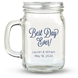 Kate Aspen Best Day Ever Design Personalized 12oz Mason Jar with Lid