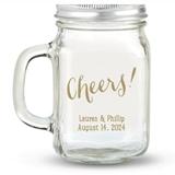 Kate Aspen Cheers! Script Design Personalized 12oz Mason Jar with Lid
