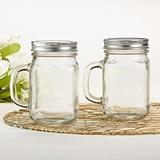 Kates Aspen DIY 12oz Glass Mason Jar Mug with Handle and Silver Lid