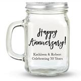 Kate Aspen Happy Anniversary! Design Personalized 12oz Mason Jar