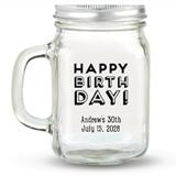 Kate Aspen HAPPY BIRTHDAY! Block Design Personalized 12oz Mason Jar