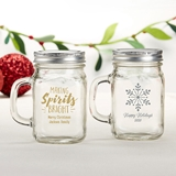 Kate Aspen Personalized 12 oz. Mason Jar Mug (Holiday Designs)
