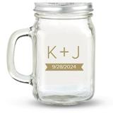 Kate Aspen Monogram Plus Design Personalized 12oz Mason Jar with Lid