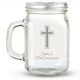 Kate Aspen Simple Cross Design Personalized 12oz Mason Jar with Lid