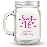 Kate Aspen Sweet 16 Hearts Design Personalized 12oz Mason Jar with Lid