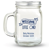 Kate Aspen 'Welcome Little One' Design Personalized 12oz Mason Jar