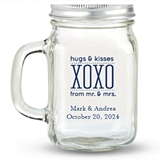 Kate Aspen Hugs & Kisses XOXO Design Personalized 12oz Mason Jar