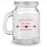 Kate Aspen Rustic Arrow & Heart Design Personalized 4oz Mini Mason Jar