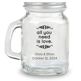 Kate Aspen All You Need is Love Design Personalized 4oz Mini Mason Jar