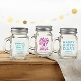 Kate Aspen Personalized Mini Mason Jar with Handle (Birthday Designs)