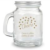 Kate Aspen Cheers Dots Design Personalized 4oz Mini Mason Jar with Lid