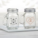 Kate Aspen Personalized Mini Mason Jar w/ Handle (Monogram Designs)