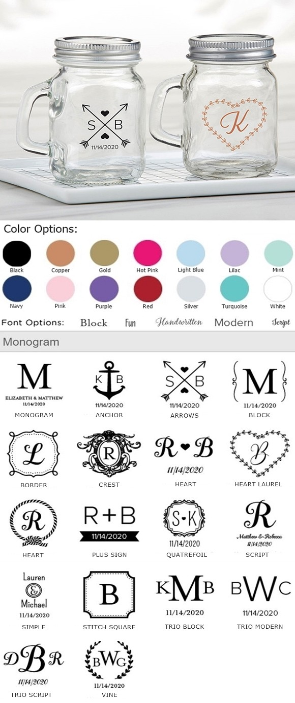Kate Aspen Personalized Mini Mason Jar w/ Handle (Monogram Designs)