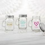 Kate Aspen Personalized Mini Mason Jar with Handle (Wedding Designs)