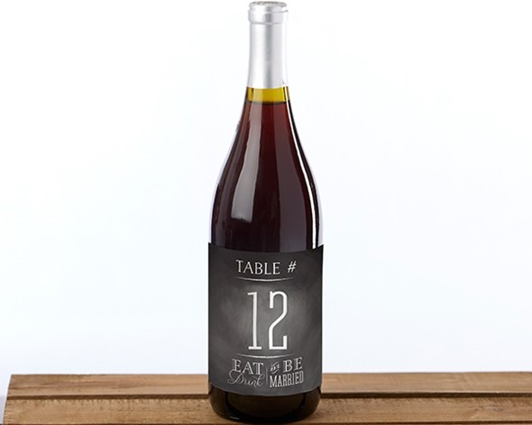 Eat Drink & Be Married Design Wine Label Table Numbers 1 through 20