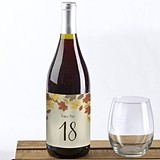 Kate Aspen Fall Leaves Design Wine Label Table Numbers 1 through 20