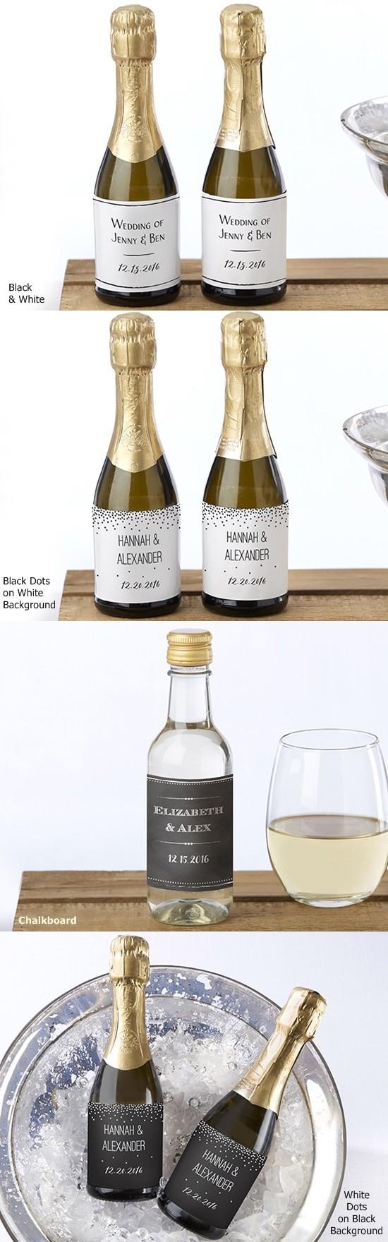 Kate Aspen Black & White Designs Personalized Mini Wine Bottle ...