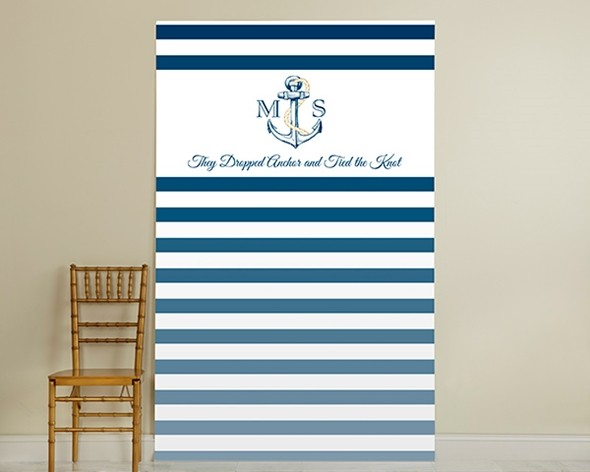 Kate Aspen Personalized Royal Blue Stripe Nautical Photo Backdrop