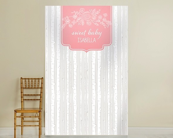 Kate Aspen Personalized Rustic Trees Motif Baby Shower Photo Backdrop