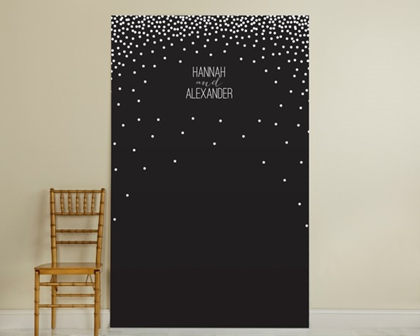 Kate Aspen Personalized Black and White Dots Design Photo Backdrop