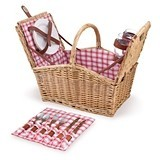 Picnic Time Piccadilly Picnic Basket with Red-and-White Plaid Pattern