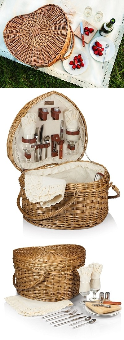 Heart-Shaped Willow Picnic Basket by Picnic Time