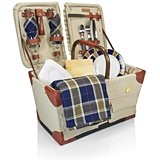 Canvas Pioneer Basket by Picnic Time w/ Navy/Khaki Plaid Blanket Tote