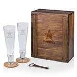 Acacia-Wood Case and Pilsner Beer Glasses Gift Set with NFL Team Logo