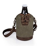 Amber-Glass Growler with Waxed-Canvas Laced-Placket Tote (3 Colors)