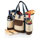 Picnic Time Two-Bottle Wine Country Tote w/ Cheese Service (2 Colors)