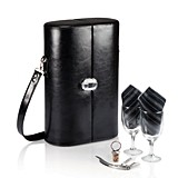 """Harmony"" Black Leatherette Wine Case by Picnic Time"