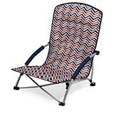 Picnic Time Tranquility Portable Beach Chair with Chevron Vibe Pattern