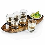 """Cantinero"" Acacia Wood Shot Serving Tray"