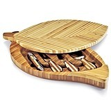 Split-Level Leaf-Shaped Bamboo Cheese Board with Tool Set