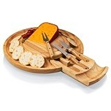 """Colby"" Rubber-Wood Cheese Board w/ Pull-Out Drawer & Tools"