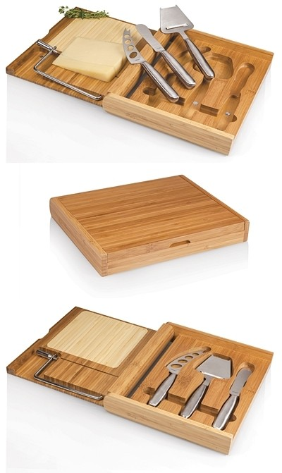 """Soiree"" Bamboo-Wood Folding Cheese Board with Tools"
