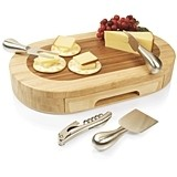 """Formaggio"" Two-Toned Bamboo-Wood Cheese Board and Tools Set"