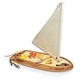 """Sailboat"" Bamboo Wood Cheese Board with Tools"