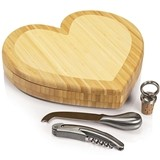 Heart-Shaped Bamboo Cheese Board with Wine and Cheese Tools