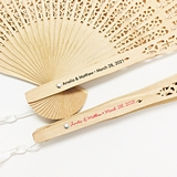 Printed Personalized Intricately-Carved Sandalwood Fan w/ White Tassel