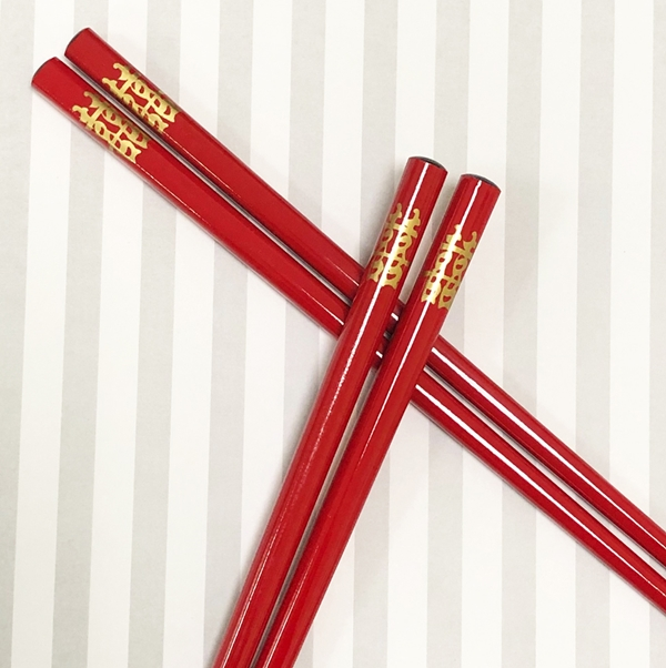 Red Glossy Finish Wood Chopsticks with Double Happiness Design in Gold