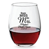 Personalized 15oz 'From Miss to Mrs' Design Stemless Wine Glass