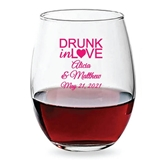 Personalized 15oz 'Drunk in Love' Heart Design Stemless Wine Glass